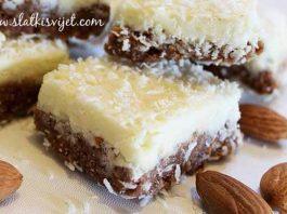 Kinder kolač s bademima, kokosom i mlijekom u prahu