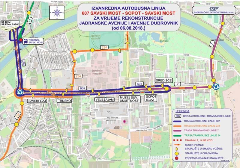 Autobusna linija 607 vozi od od Savskog mosta do Sopota