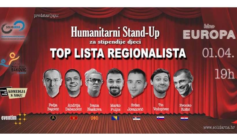 TOP LISTA REGIONALISTA: Vodeći stand-up komičari nastupaju za stipendiranje siromašne djece