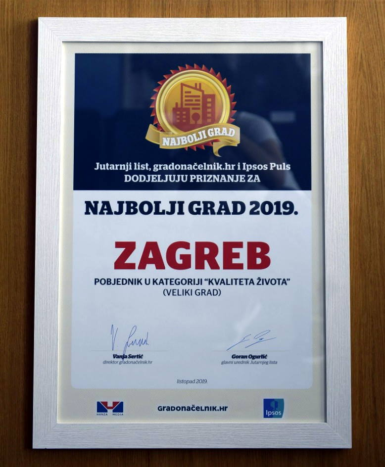 Zagreb je dobitnik nagrade za najbolji veliki grad u kategoriji kvalitete života