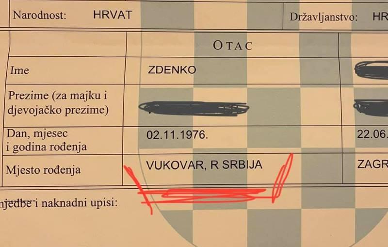 NEVJEROJATNO: U Matičnom uredu Trešnjevka izdali rodni list na kojem stoji da je Vukovar u Srbiji!