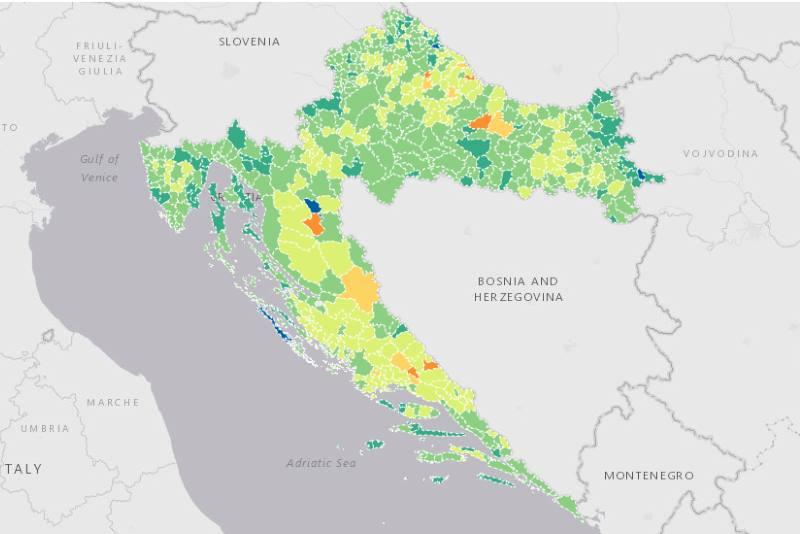 HZJZ objavio kartu procijepljenosti, pogledajte gdje je cijepljenih najviše, a gdje najmanje